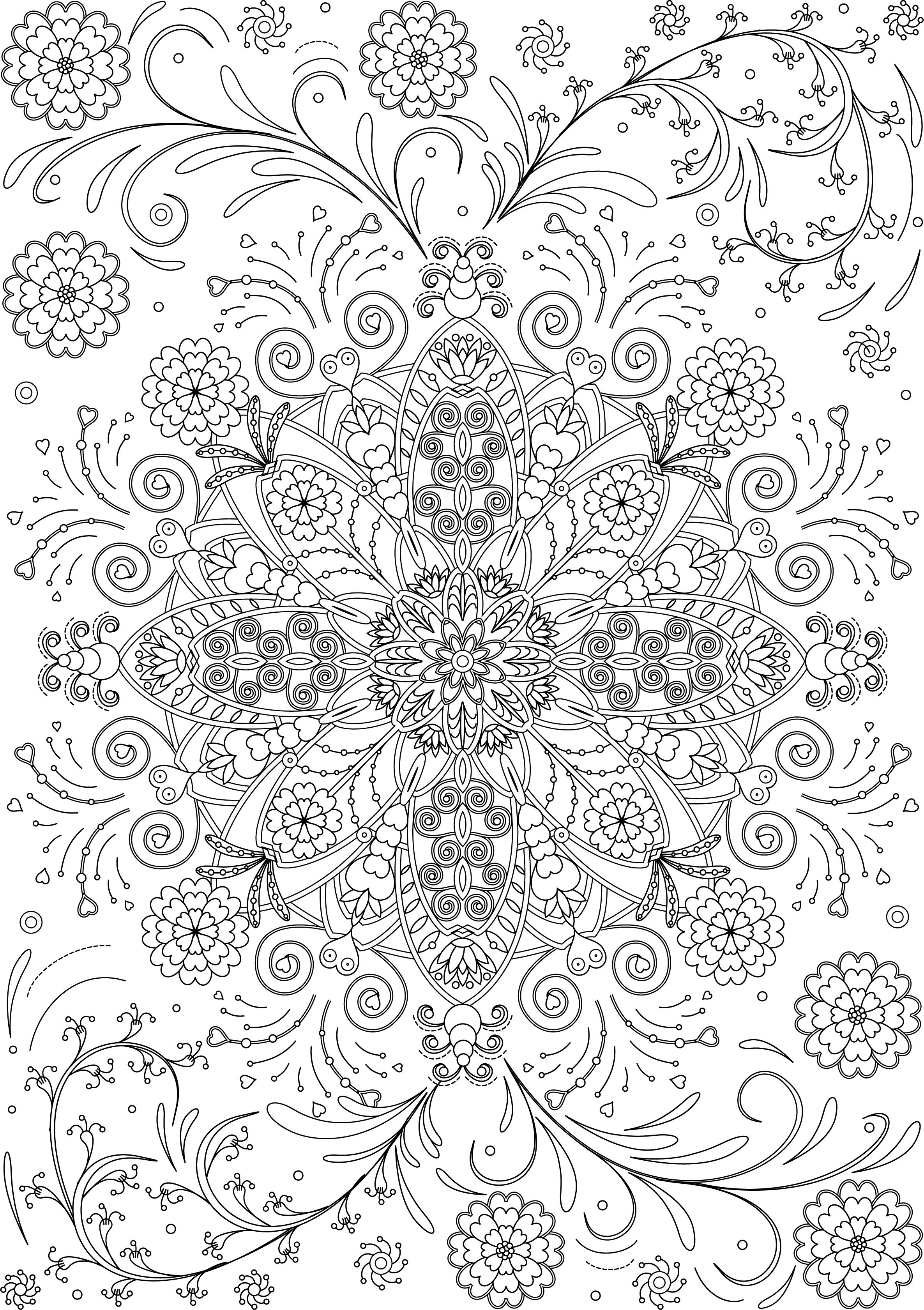 Decorative Round Ornament Flower Mandala Vector Illustration For Coloring Pages Anti Stress Th Mandala Coloring Books Mandala Coloring Flower Coloring Pages
