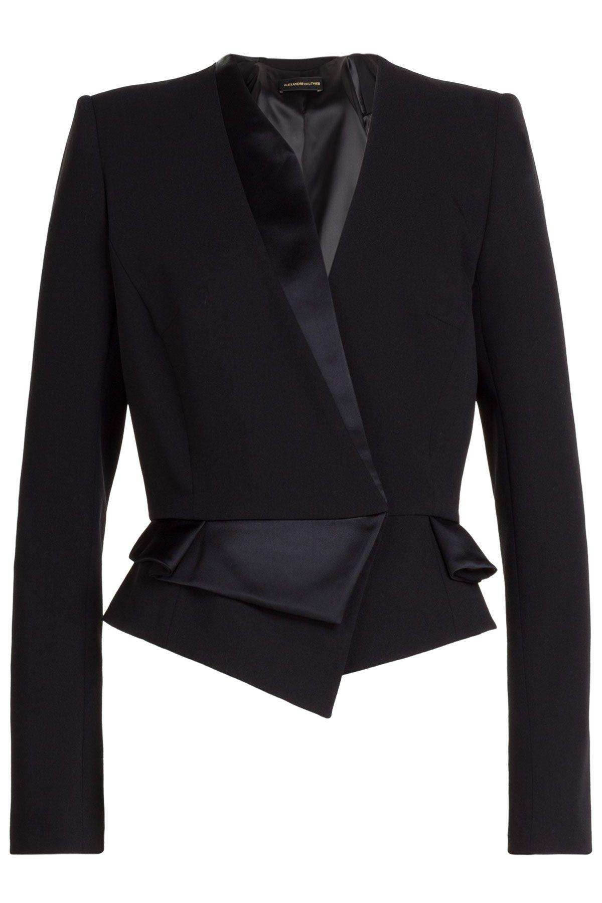 3830452e5 Women s Wool Blazer With Satin - Black