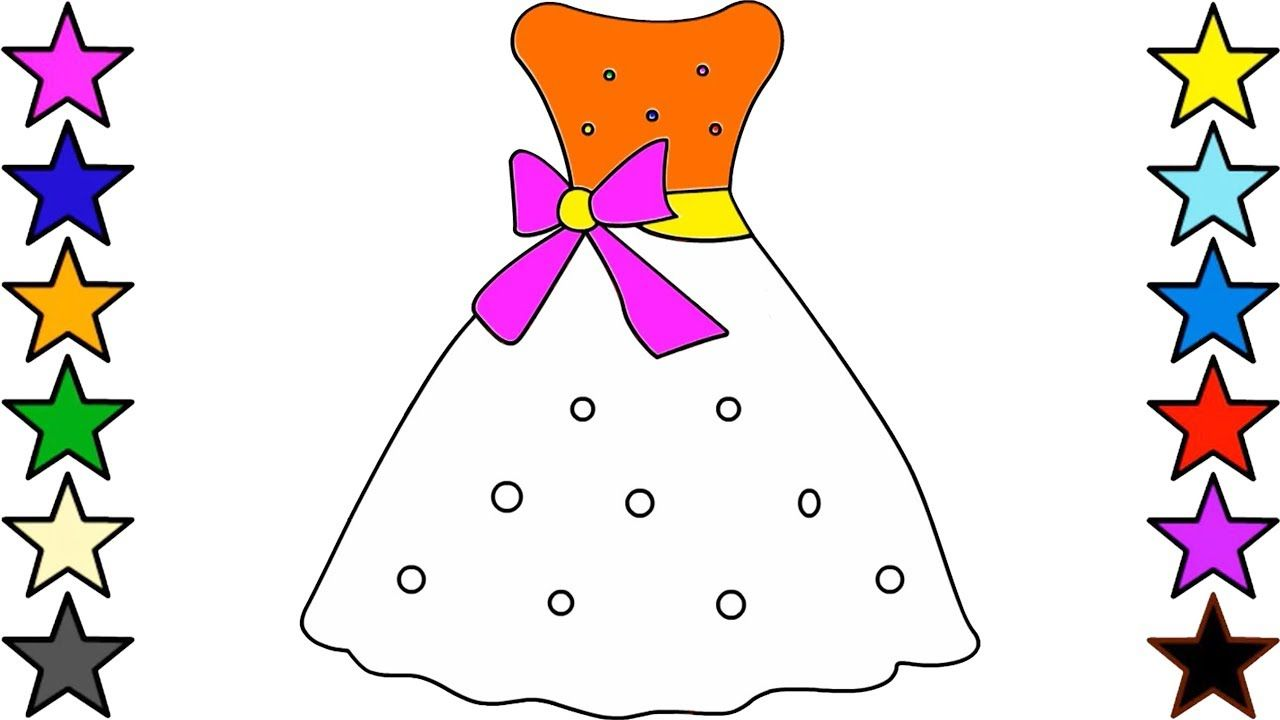 Girls Dresses Drawing and Coloring for Kids