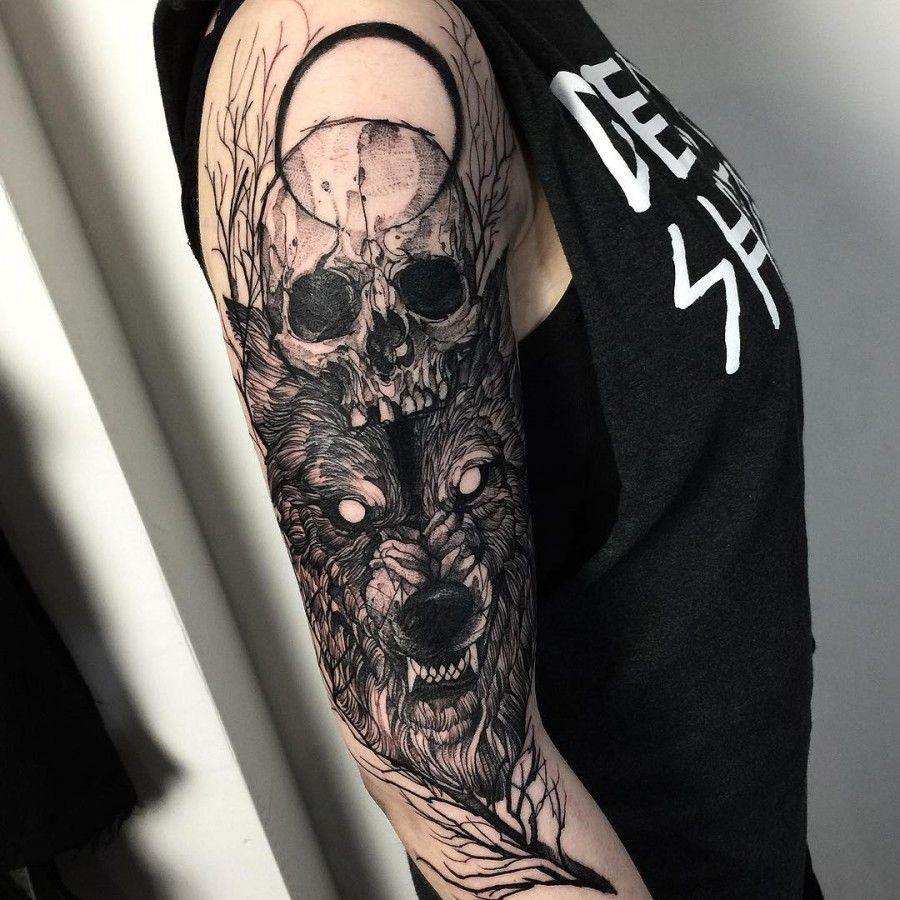 b6fc73e9b9737 Image result for wolf and skull tattoo | Tattoos | Tribal sleeve ...