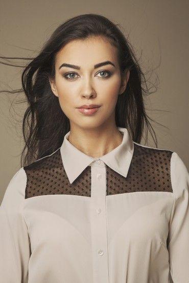 1e0bd487b5836a Beżowa koszula damska z przezroczystą siatką | Koszule długi rękaw ...