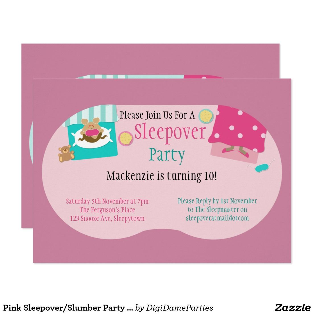 Pink Sleepover/Slumber Party Invitation Invitation Template by The ...