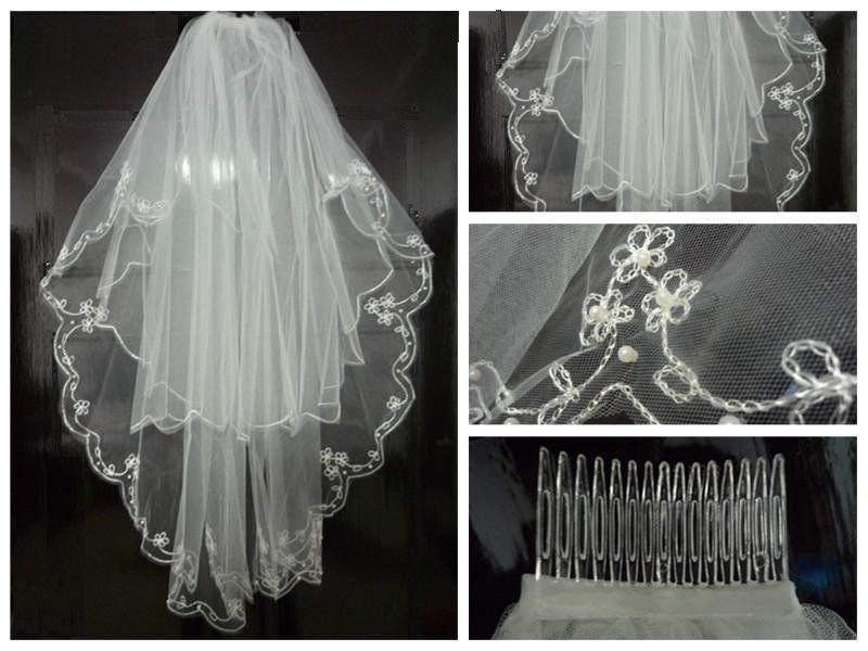 New 2T Elegant ivory Pearl Edged Cathedral Bridal Wedding Veil + Comb
