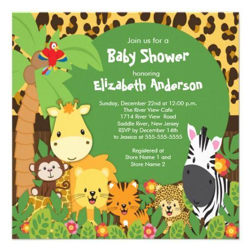 Cute Safari Jungle Animals Baby Shower Invitations Safari Baby