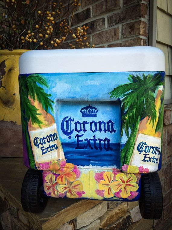 Tropical Themed Custom 38 Qt Cooler by BeechwoodandCo on Etsy