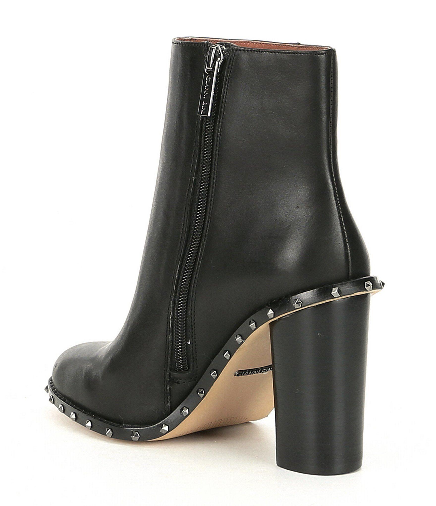 6a71870488b8 Gianni Bini Zanderson Leather Studded Welt Block Heel Booties  Dillards
