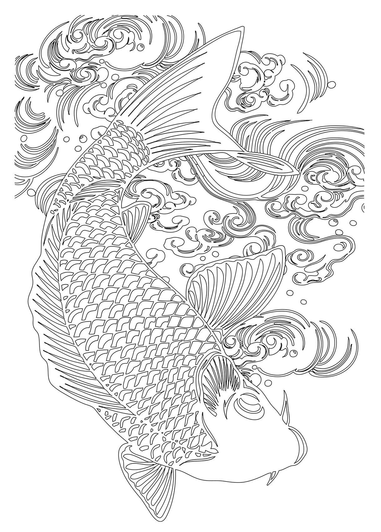 Tatouage Poisson Koi à Colorier Tatoos Coloriage Colorier Et Koï