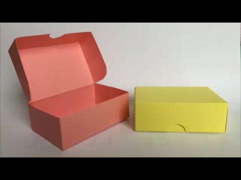 色画用紙 とても簡単 長方形1枚使い切り ふたつきの箱 Paper Very Easy Box With Lid Made Of One Rectangle Youtube 紙 箱 作り方 箱の作り方 折り紙 箱