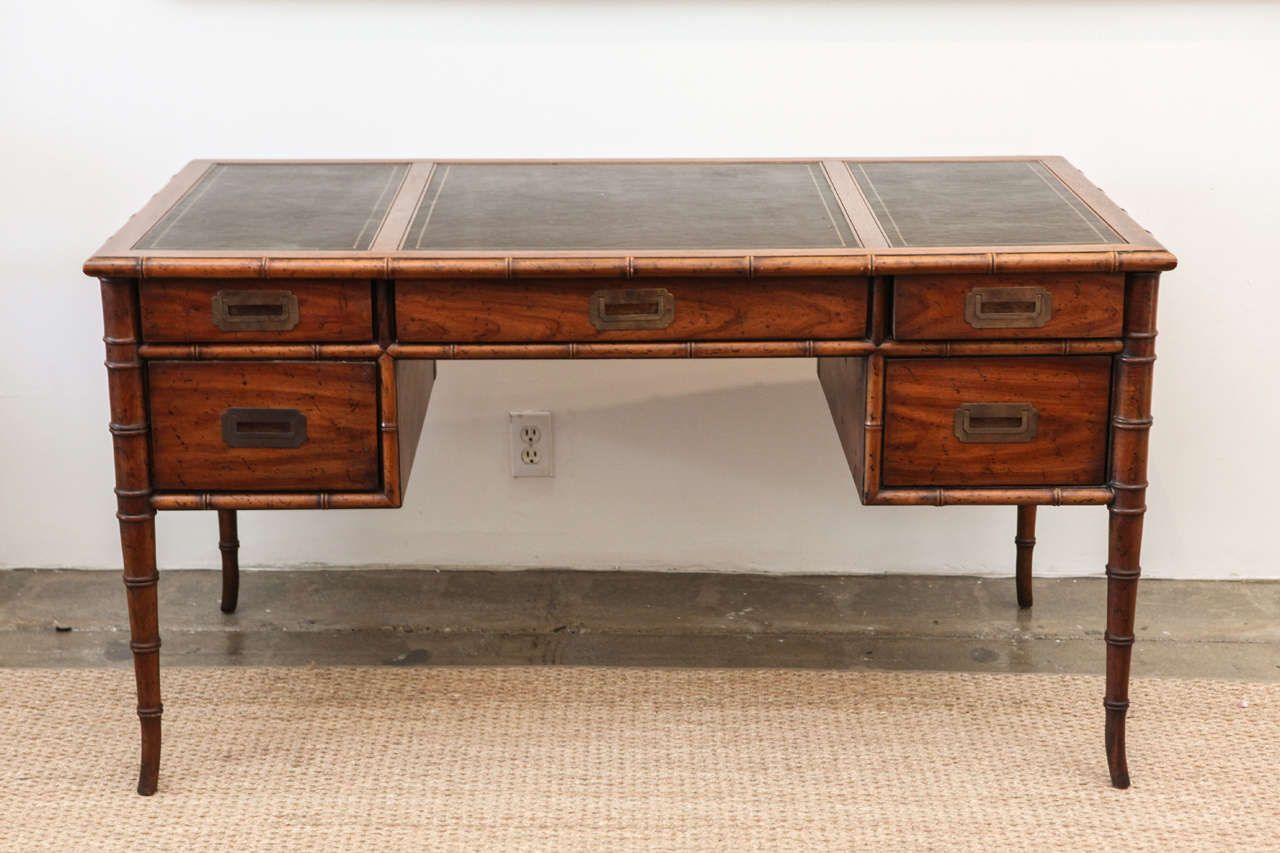 drexel campaign bamboo and leather desk   campaign desk faux bamboo      rh   pinterest com