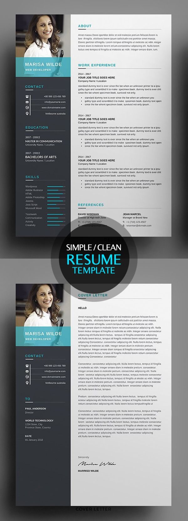 Fresh Simple Clean Resume Templates And Cover Letter  Pers Dev