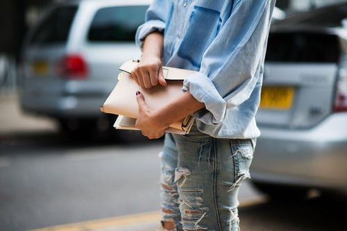 Double Denim + Neutral Clutch