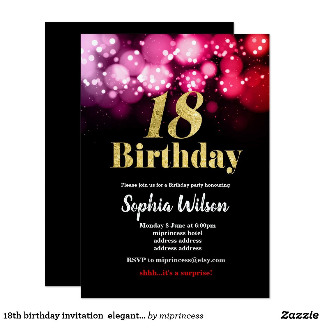 18th Birthday Invitation Elegant Glitter Pink Red Fun Party Invites