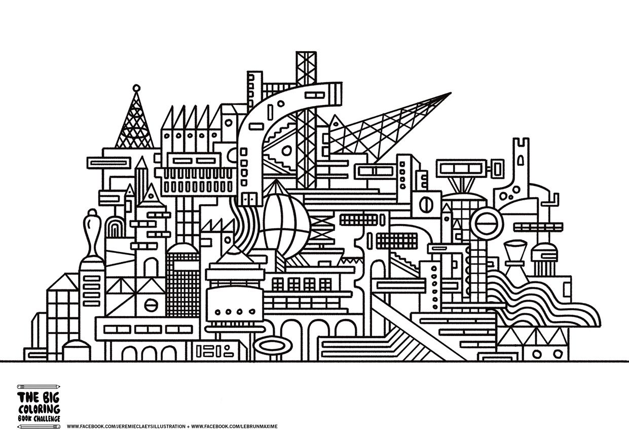 Free coloring page coloring-twisted-city.