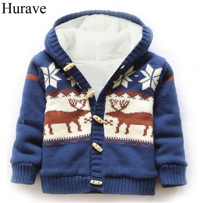 3b1c1b667b Hurave winter boys and girls coat cotton Christmas Moose patterned cashmere  sweater jacket hooded baby sweater