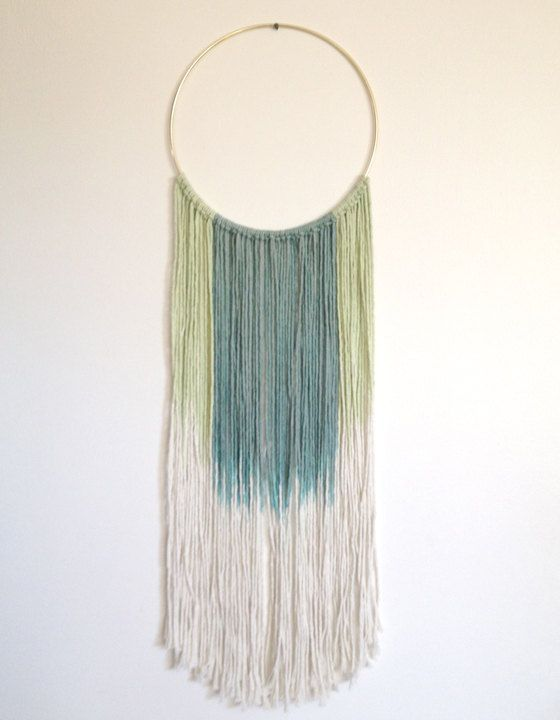 """Wall Hanging: Dreamweaver in CYAN. Hand dyed cotton in LIGHT GREEN and Blueish-Green ombre. 24-28"""" in length (approx). Hand dyed & Handmade. by DreamingGypset on Etsy"""