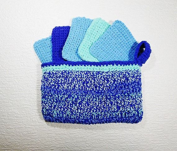 Pack cadeau trousse + lingettes nettoyantes réutilisables; pur coton; turquoise