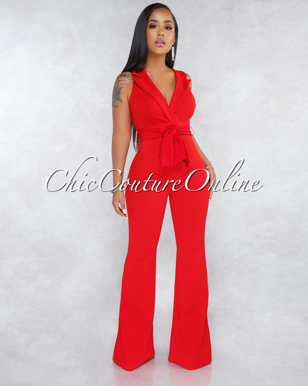 57c082d3550 Chic Couture Online - Soledad Red Trench Bell Legs Jumpsuit