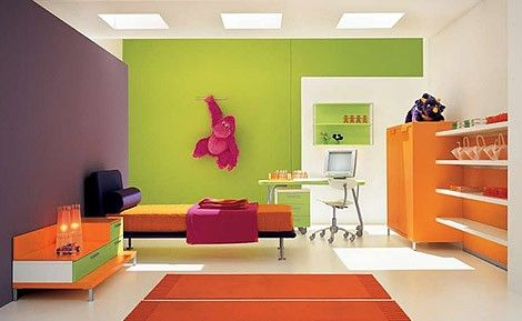 This Is An Example Of The Triadic Color Scheme The Colors Used Are Purple Green And Orange Th Interior Color Schemes Modern Kids Room Matching Paint Colors