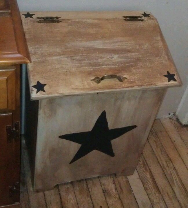 Wooden Trash Can Box I Painted!