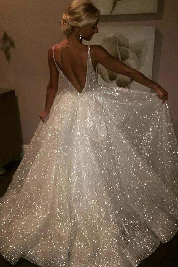 32242a554 Sparkly Beautiful Elegant Long Ivory Backless Wedding Dresses Prom Dresses  Z0833