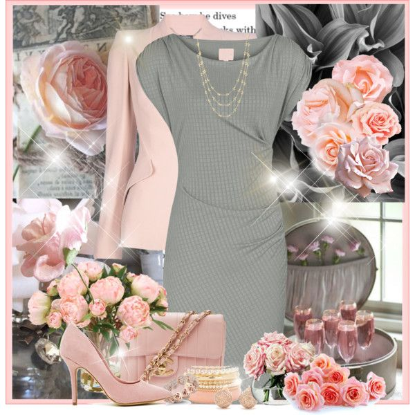 """""""pink grey and gold"""" by wendyfer on Polyvore"""