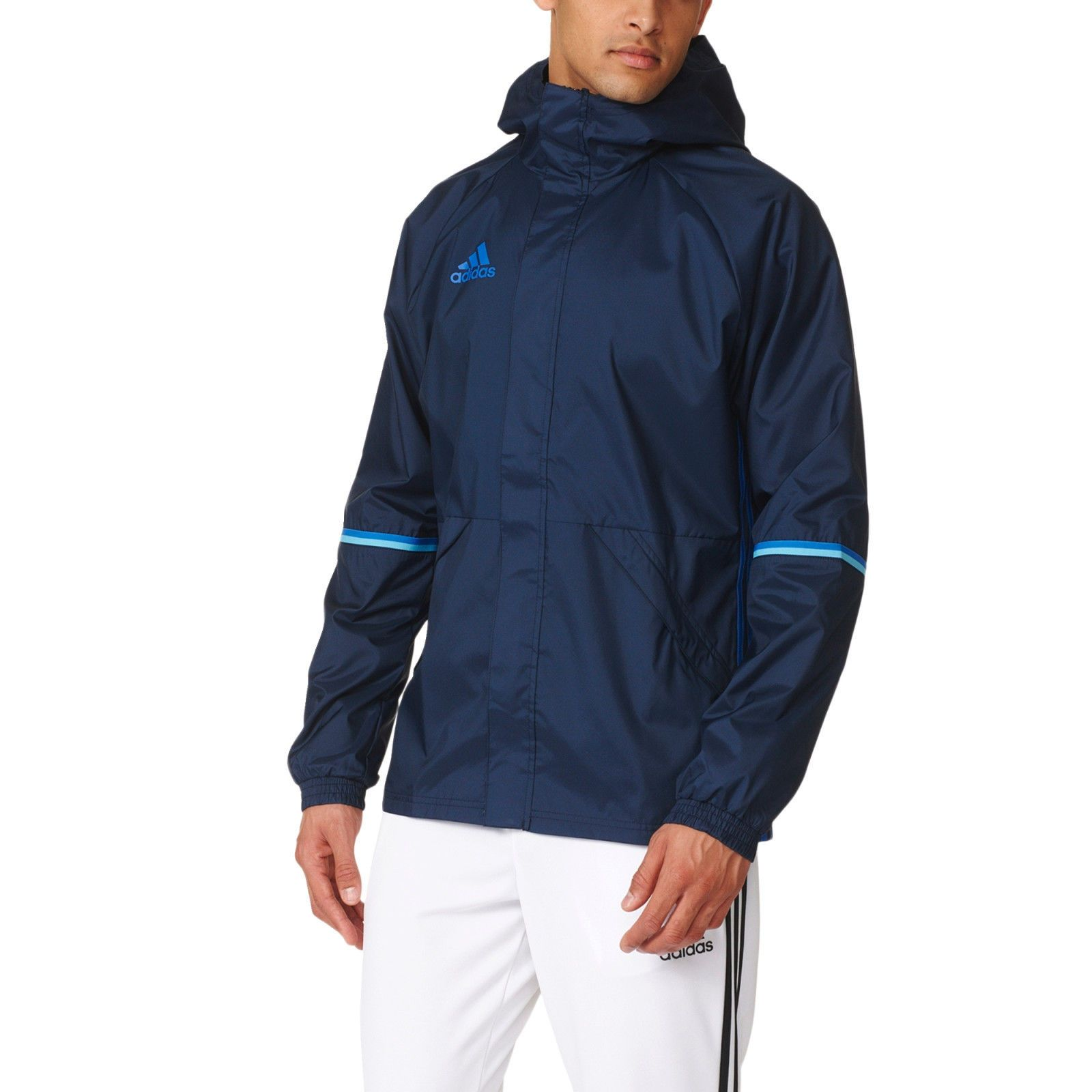 Barón marco tenaz  Adidas Men Rain Jacket Waterproof Condivo Hoodie Training Blue Running  AC4407 | Adidas men, Jackets, Rain jacket