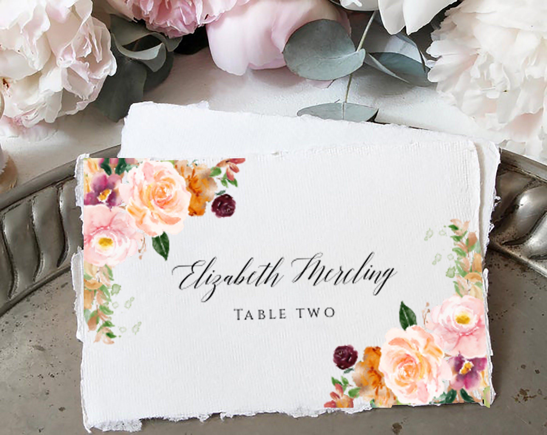Boho Printable Place Card Template Wedding Place Card Etsy Wedding Place Card Templates Wedding Place Cards Place Card Template