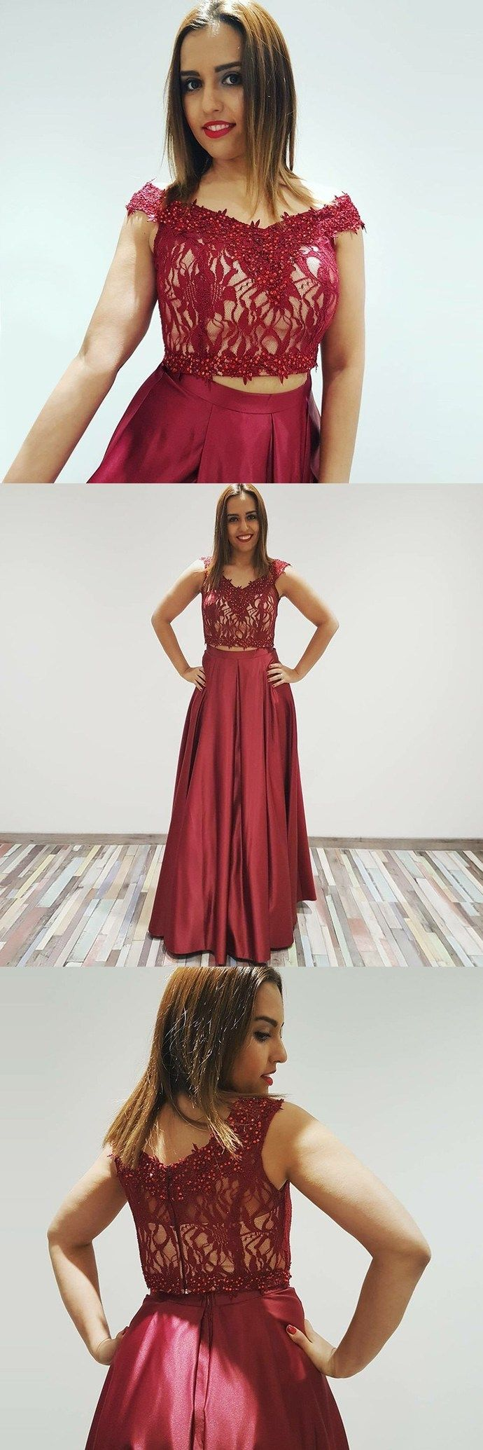 Modern two piece aline offtheshoulder burgundy long prom dress