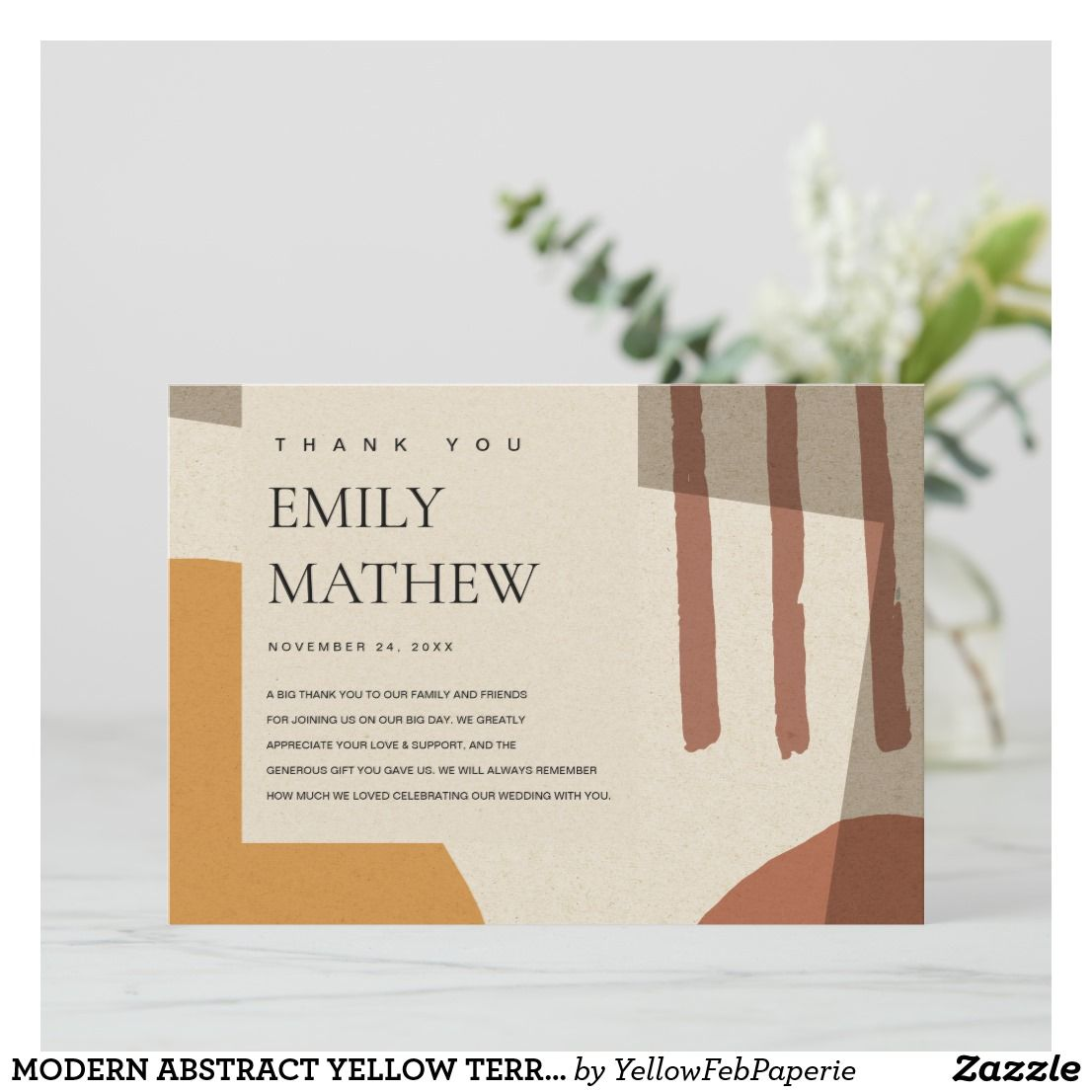 modern abstract yellow terracotta artistic wedding thank