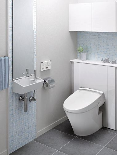 トイレ背面を収納に活かす トイレルーム トイレのアイデア トイレ 収納 棚