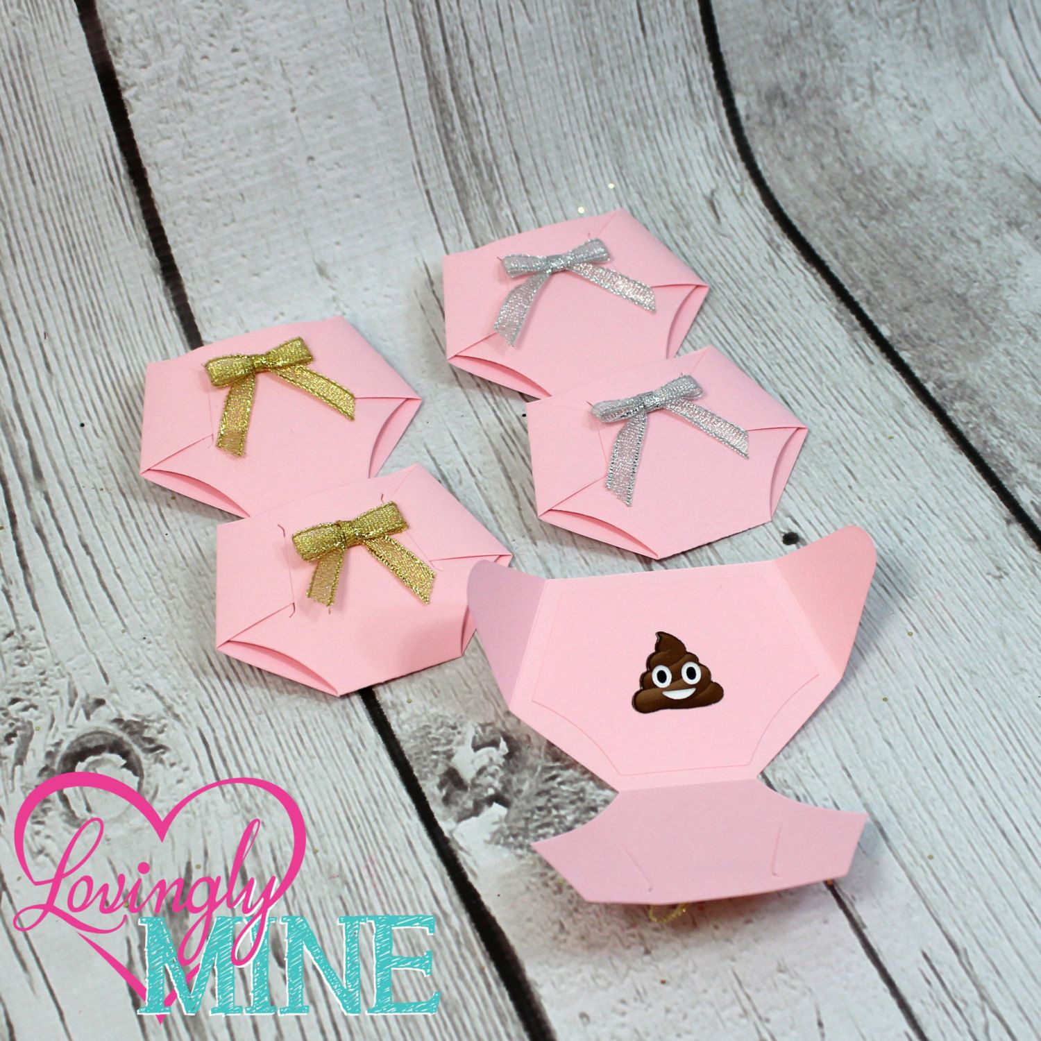 Dirty Diaper Game Baby Pink Diaper Pins Gold Or Silver Bows