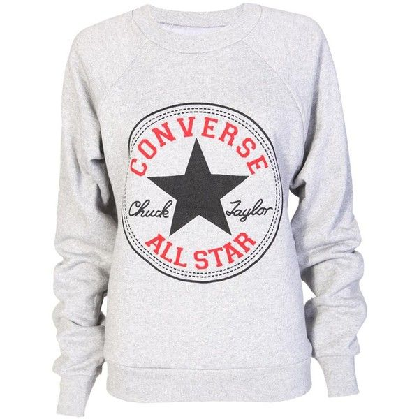 Converse Sweatshirt in Grey ($13) ❤ liked on Polyvore