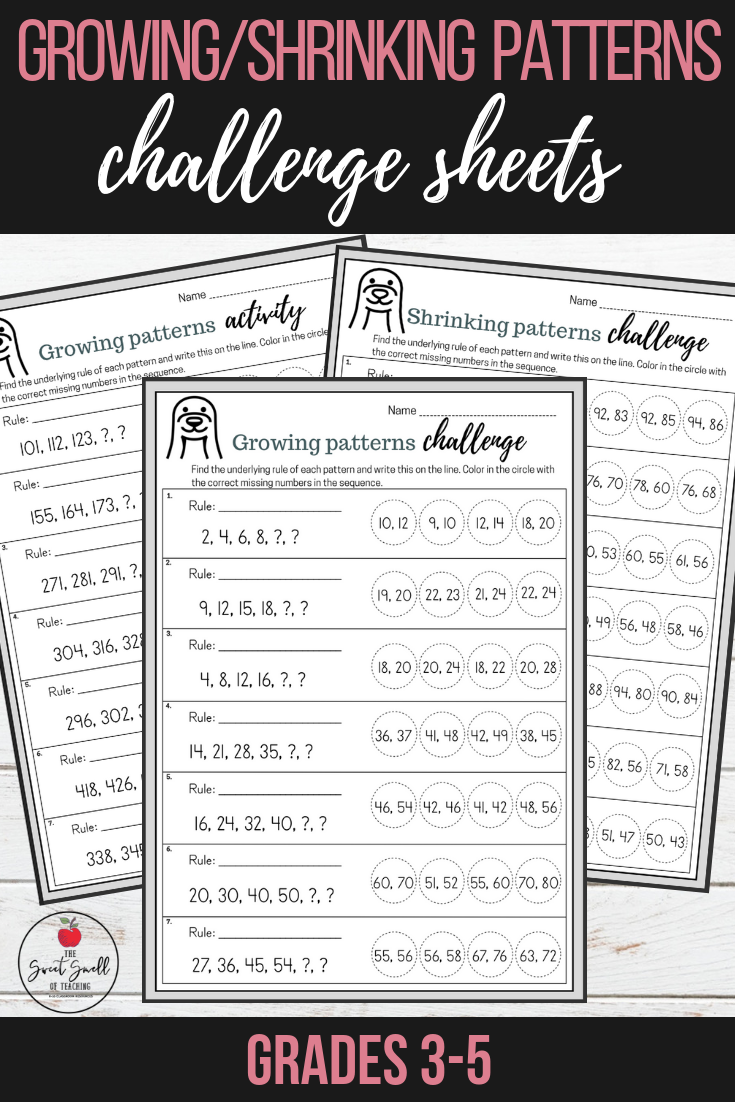 Growing Shrinking Number Patterns Differentiated Challenge Sheets Teaching Math Math Patterns Math Resources [ 1102 x 735 Pixel ]