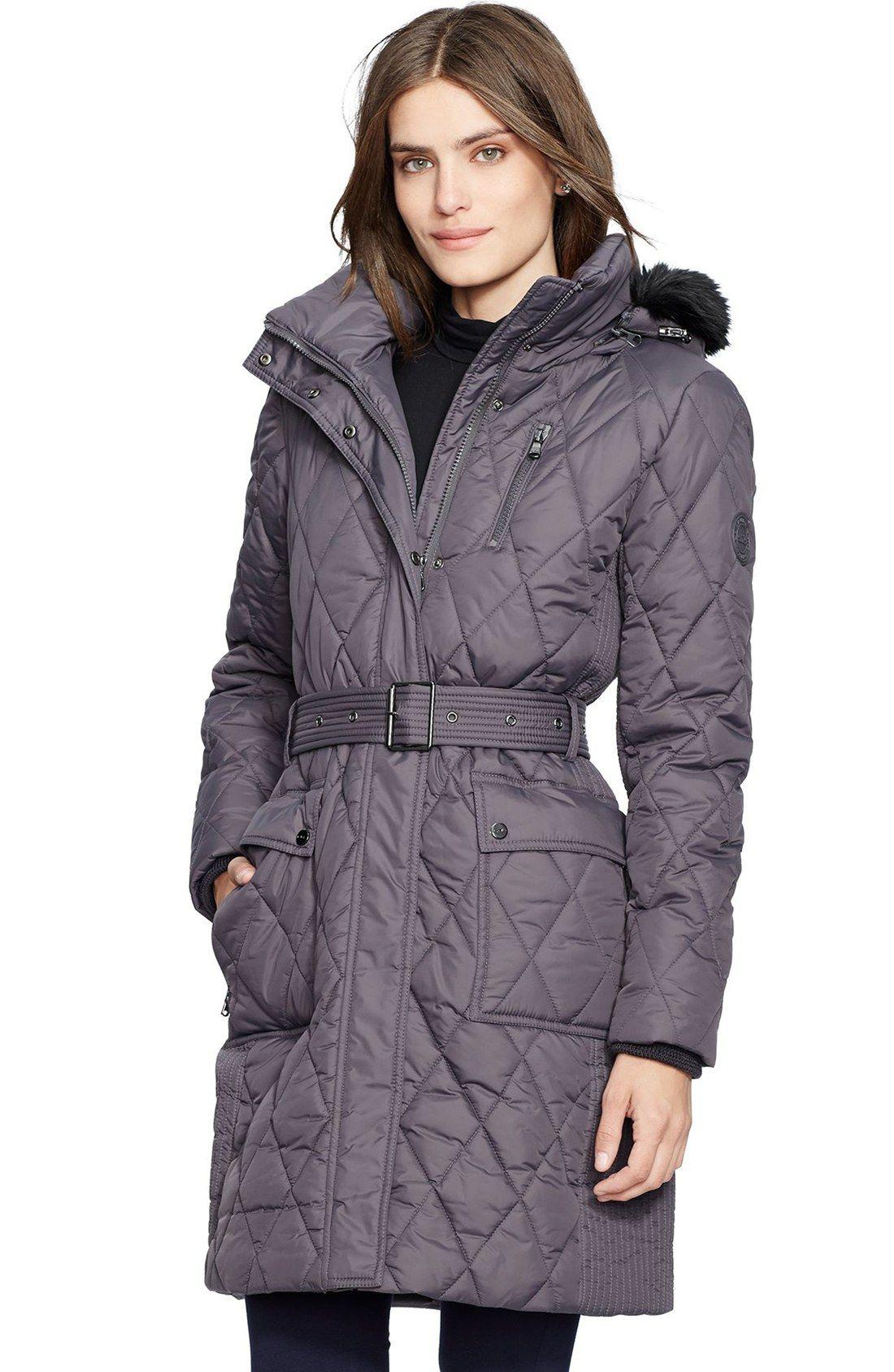 ef0d843fa86 Lauren Ralph Lauren Faux Fur Trim Belted Quilted Coat   Puffy coats ...