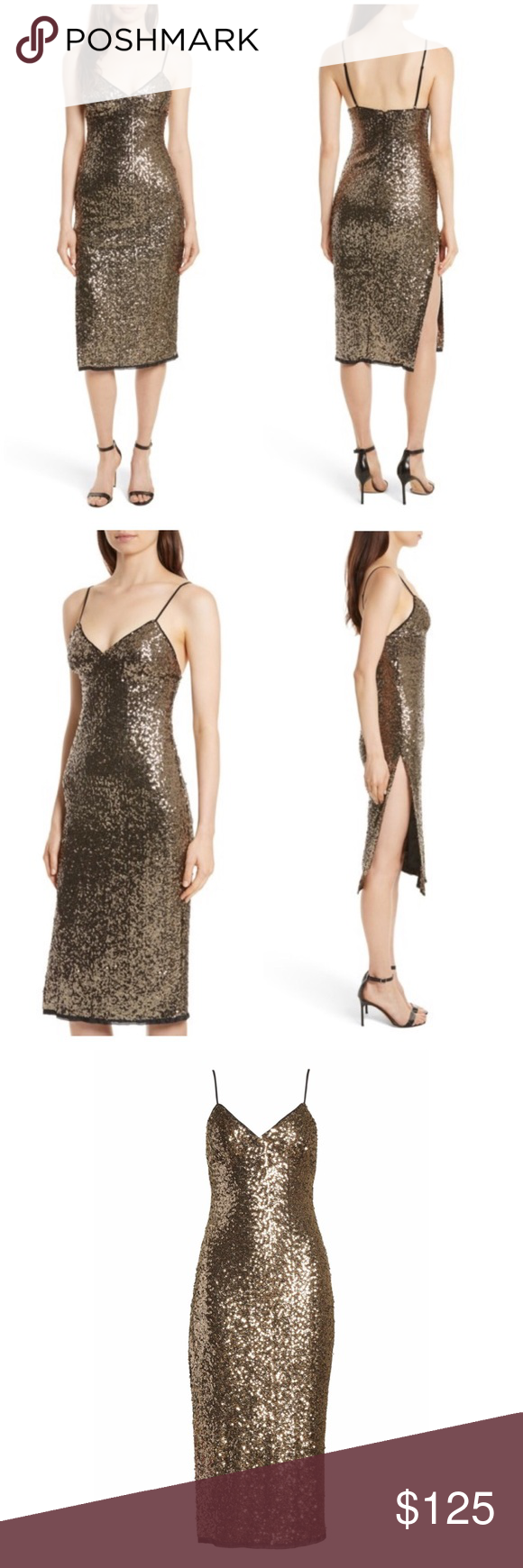 54267bc9 NWOT Milly Alexis Sequin Camisole Dress New Without Tags Milly 'Alexis' Sequin  Camisole Dress. Antique gold color. Fully lined. Side slit. Perfect for the  ...