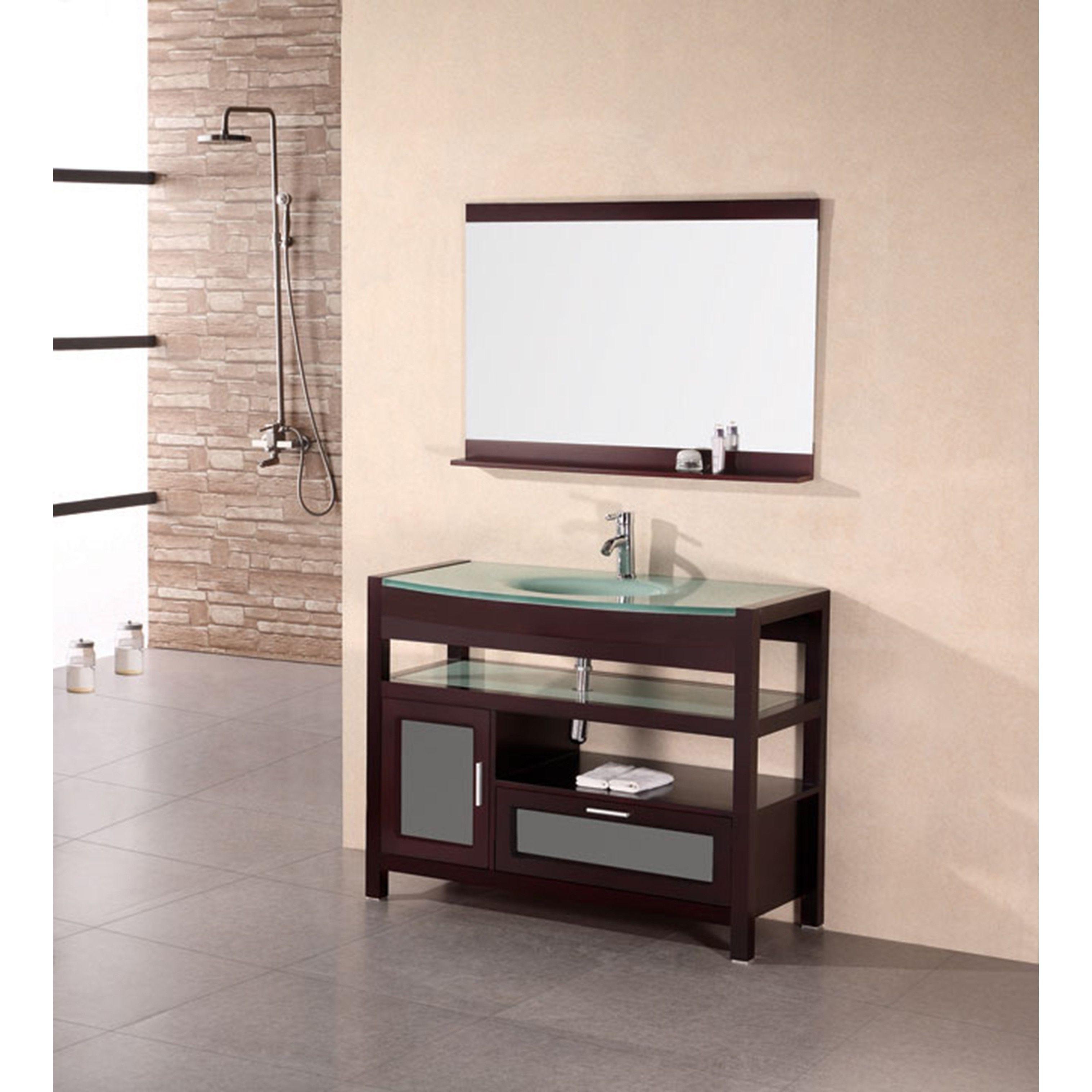 Design Element Solid Wood Bathroom Vanity Set Brown Size Single