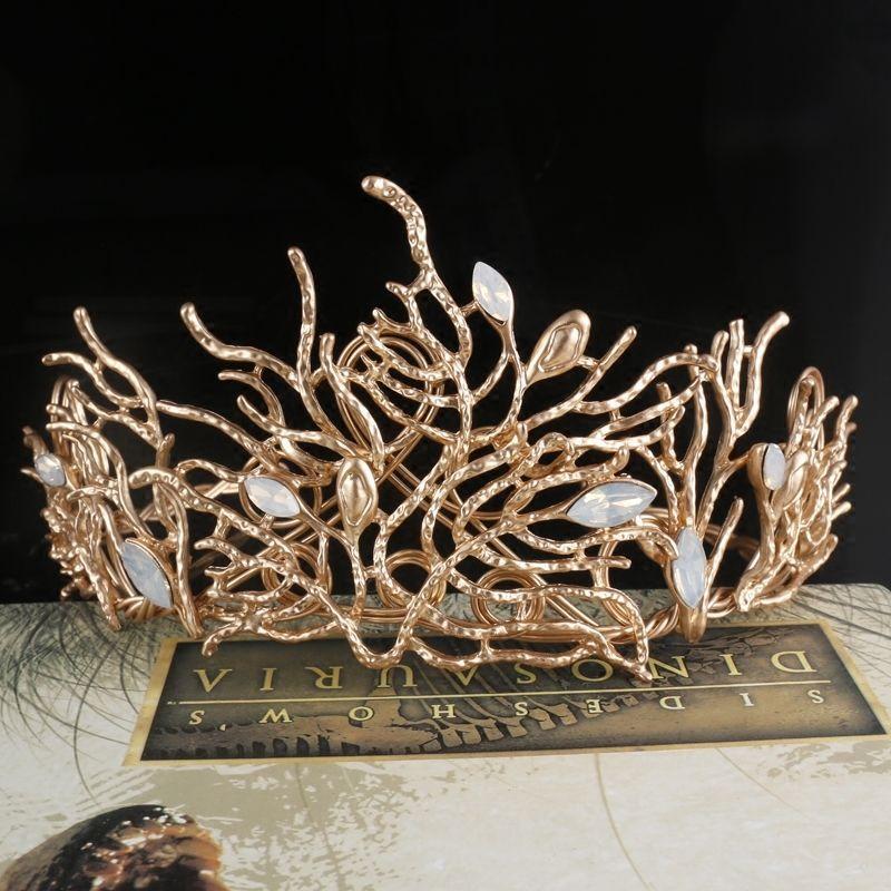 Baroque crystal Queen Gold Crown Tiara Wedding Bridal Headband Hair Accessories #crystalbeadedtiaraheadpieceheadbandCUCU