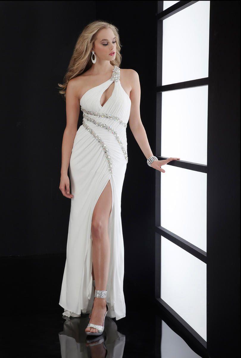 Chiffon One Shoulder Sexy Slit Plus Size Ivory Prom #Dress. | Prom ...