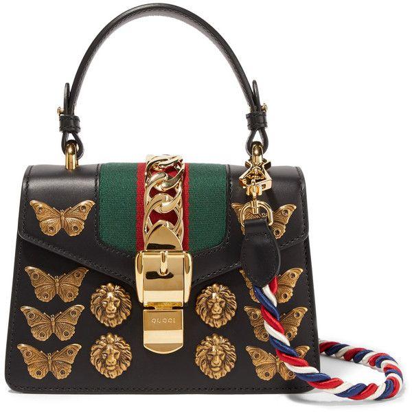 9d29f7baf Gucci Sylvie mini embellished leather shoulder bag ($3,190) ❤ liked on  Polyvore featuring bags, handbags, shoulder bags, black, gucci purse, gucci  handbags ...
