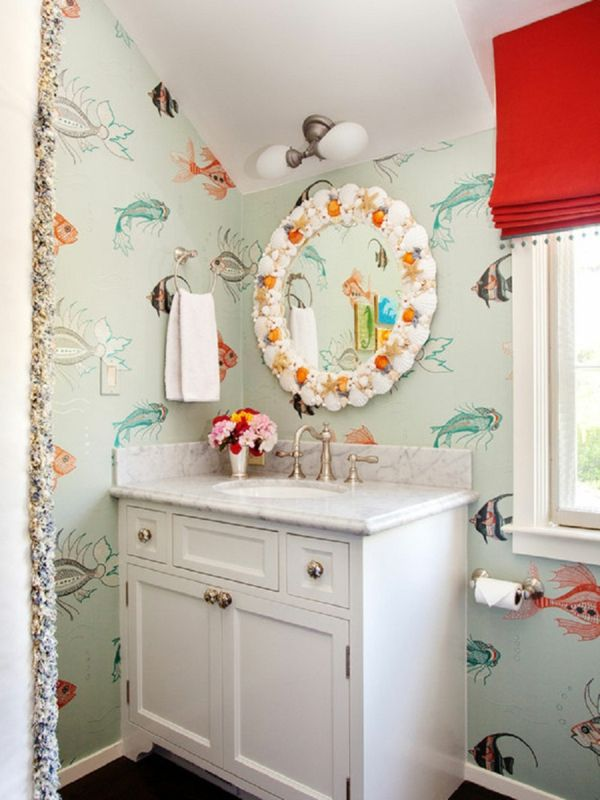Small Bathroom Fish Wallpaper Designs With White Vanity Cabinets - Fishing bathroom decor for small bathroom ideas
