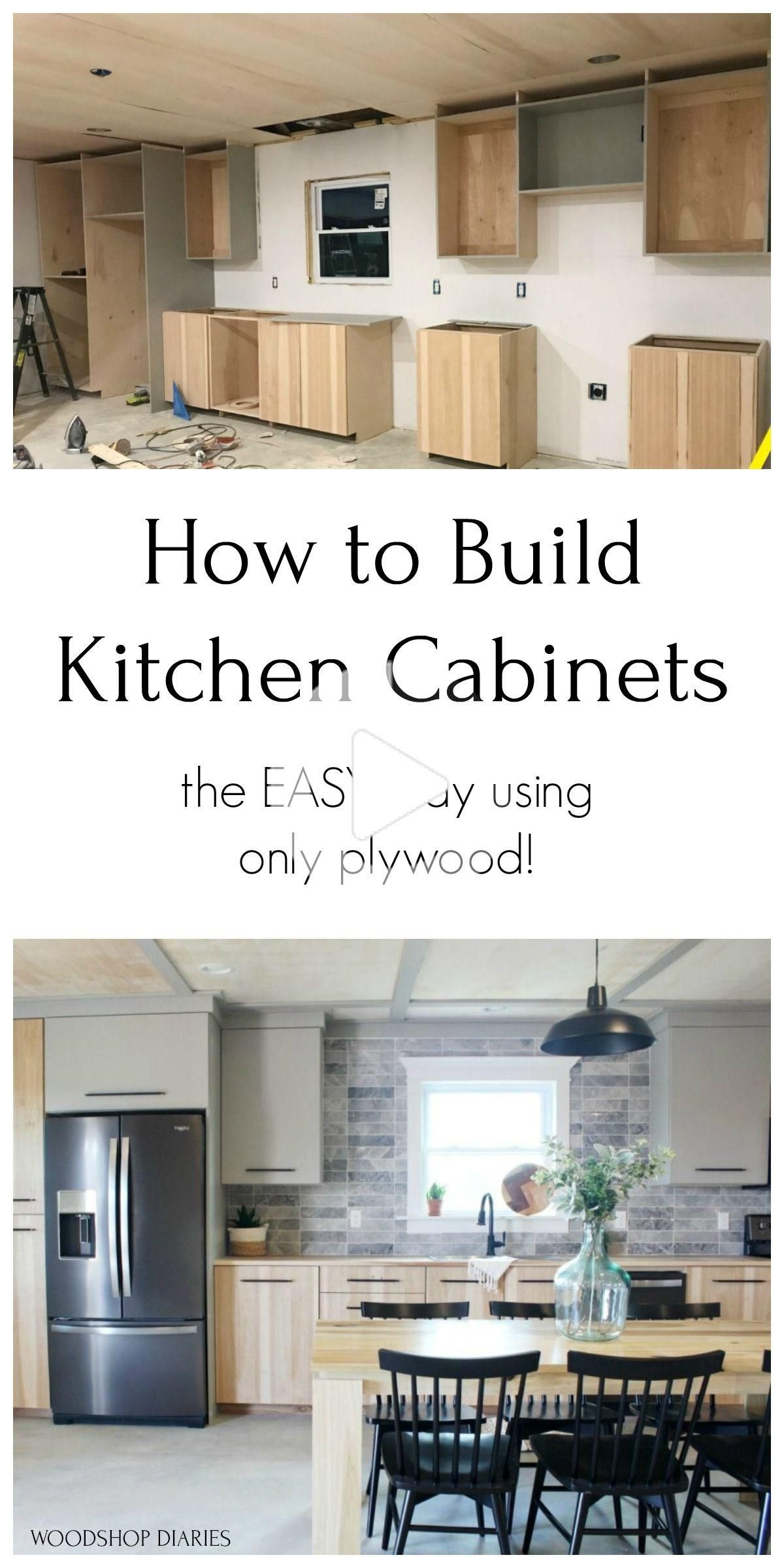 Diy Kitchen Cabinets Made From Only Plywood In 2020 Building Kitchen Cabinets Kitchen Cabinets On A Budget Kitchen Design Diy