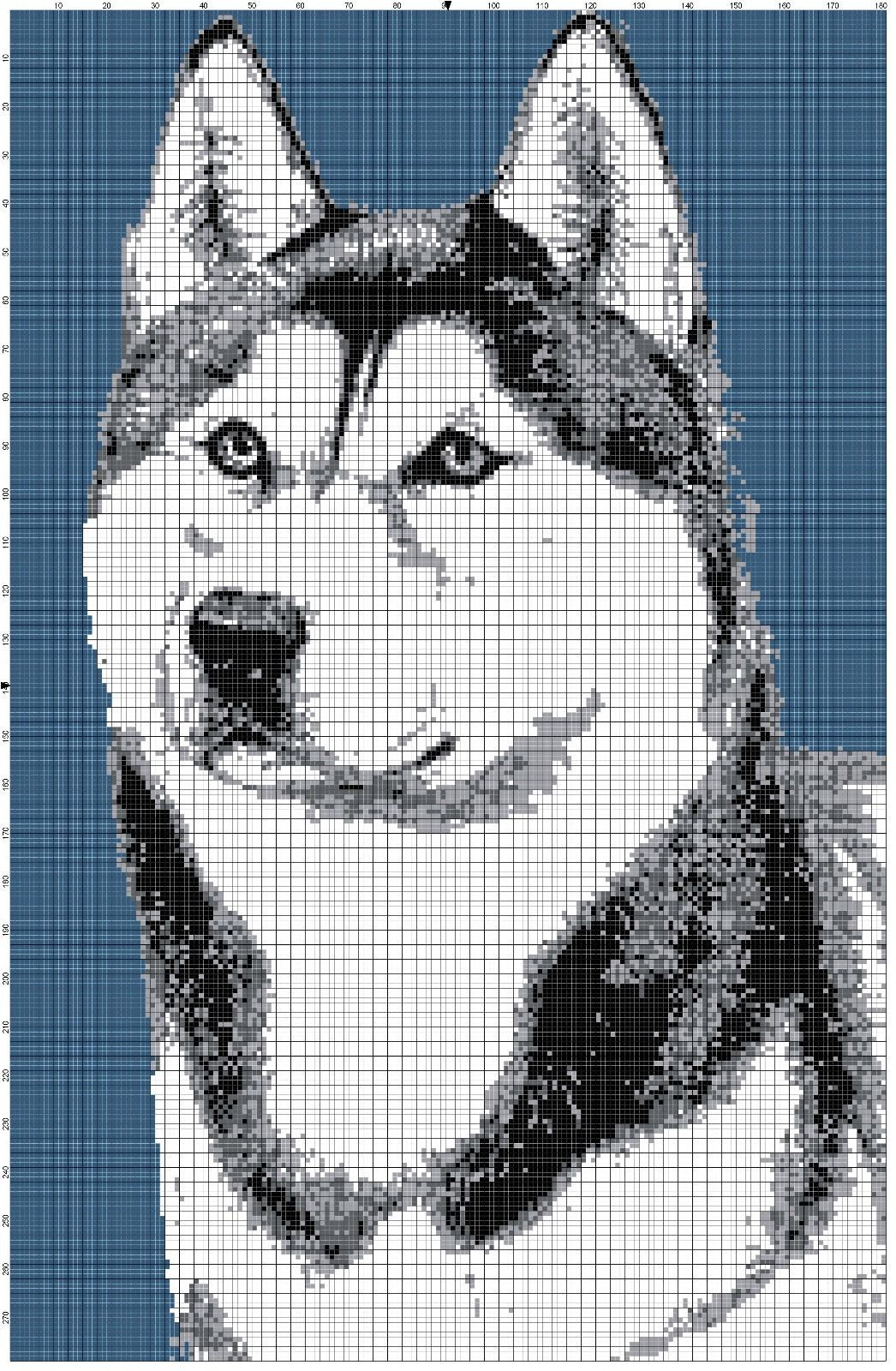 Crochet patterns siberian husky graph afghan pattern chart dog 1 of 1 siberian husky afghan crochet graph dog pattern by altas crafts bankloansurffo Image collections