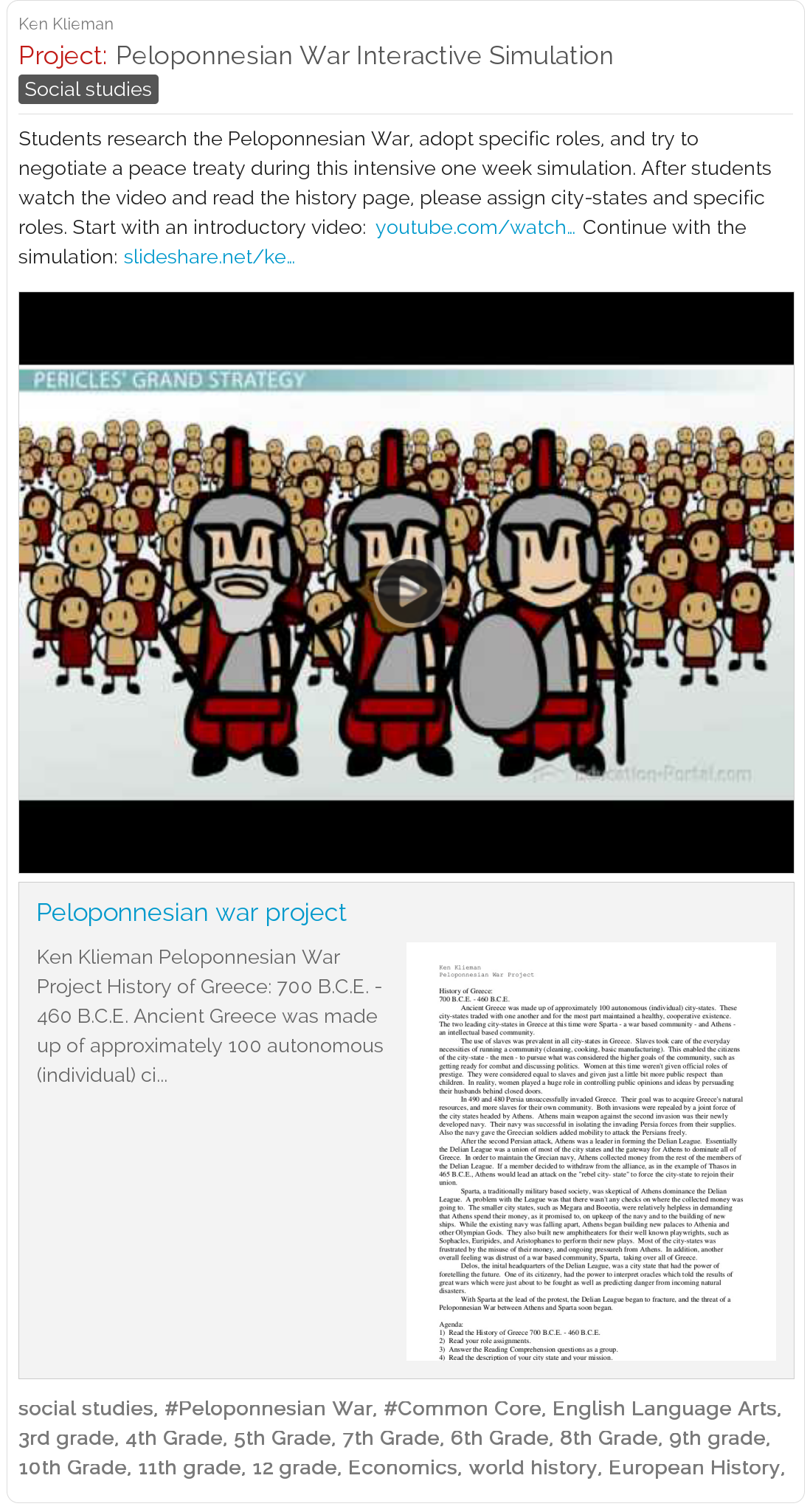 Free Lesson Plan For World History Peloponnesian War Interactive Simulation Very Cool