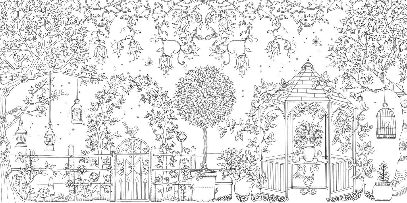 Jardim Secreto Colorir Desenho 4 1417×709 Coloring