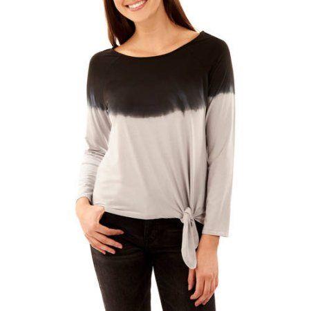 9f6f4e2c Faded Glory Women's Long Sleeve Dip Dye Side Tie T-Shirt, Silver ...