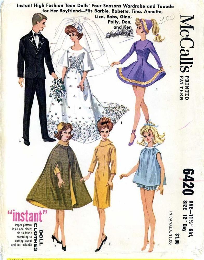 ORIGINAL Barbie Ken doll PATTERN for Bridal Gown Tuxedo shoes ...