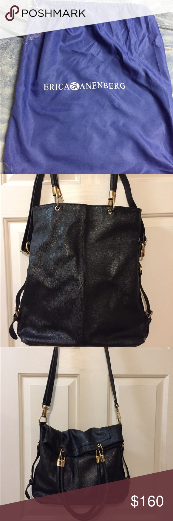Gently used Erica Anenberg Sutton bag. Gently used bag. Top of bag lightly discolored (see picture). Dust bag included, drawstring frayed. Great condition and goes with all outfits. Bags Shoulder Bags