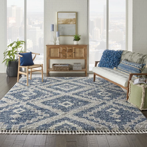 Nourison Scandinavian Shag Scn02 Denim Blue Area Rug Layered Rugs Living Room Blue Rugs Living Room Geometric Rugs Living Room