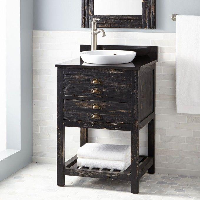 24 Zarek Mahogany Vanity For Semi Recessed Sink Espresso Reclaimed Wood Vanity Wooden Bathroom Vanity Home Depot Bathroom Vanity