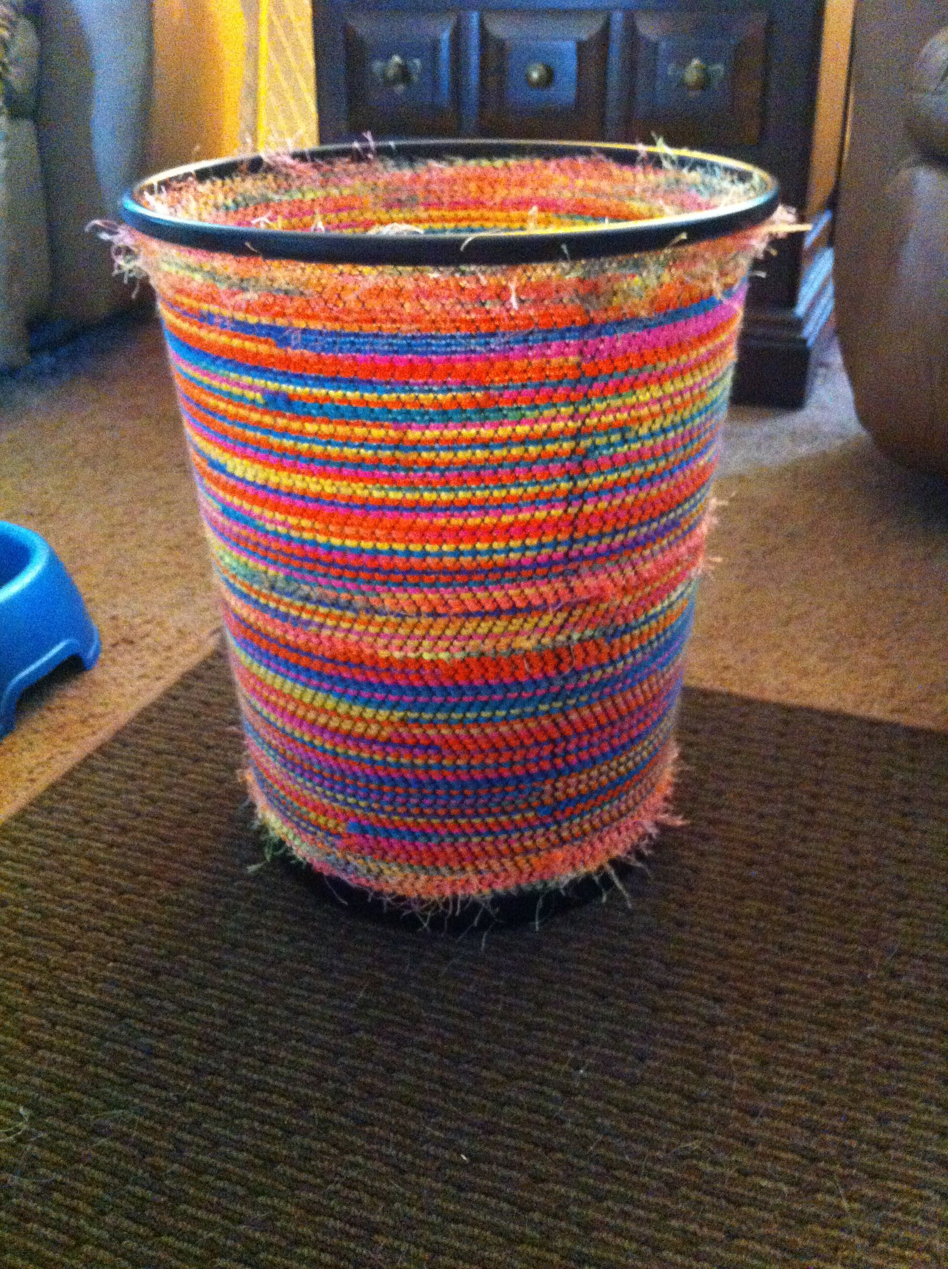 Halfway Homemade Trash Can Bought A Mesh Trash Can From